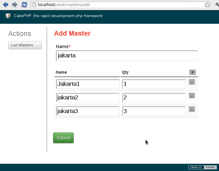 mengisi form add master detail